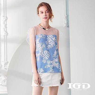 IGD英格麗 熱帶植物印花網紗造型上衣