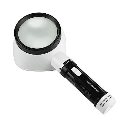 【日本 I.L.K.】2.5x/80mm 日本製LED閱讀用大鏡面立式放大鏡 M-322