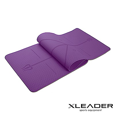 Leader X 環保TPE雙面防滑體位線瑜珈墊6mm 附收納繩 深紫