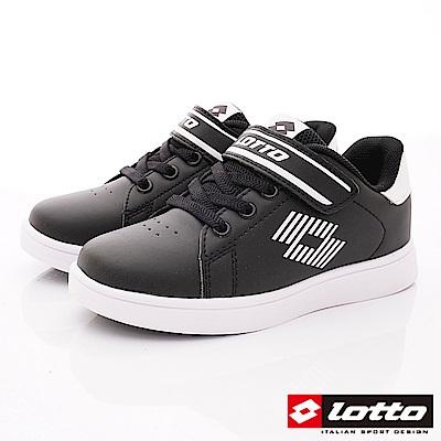 Lotto義大利運動鞋 經典網球鞋款 SI980黑(中大童段)
