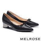 高跟鞋 MELROSE 簡約氣質晶鑽蝴蝶結羊皮尖頭造型粗高跟鞋-黑