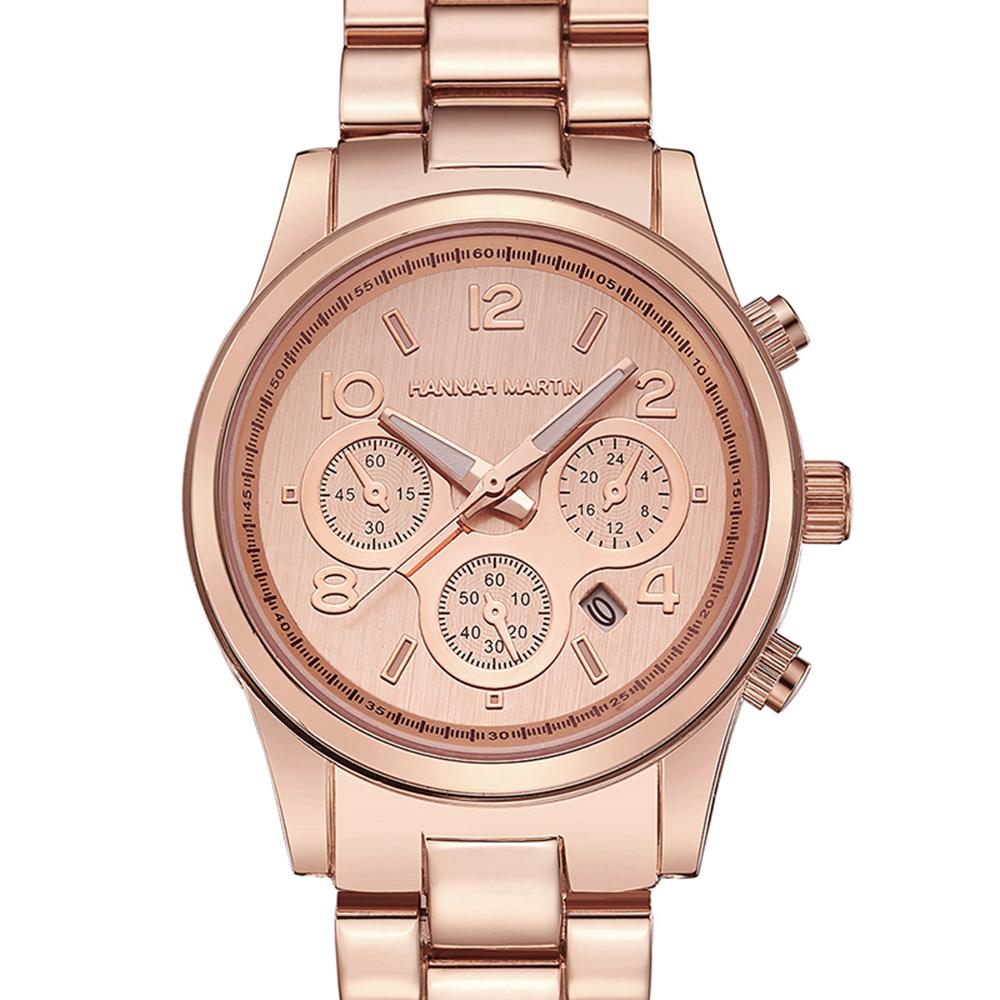 HANNAH MARTIN 絢麗盛世裝飾三眼腕錶-玫金x38mm(HM-1038-F)