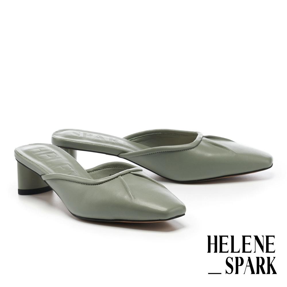 穆勒鞋 HELENE SPARK 極簡時髦羊皮小抓皺方頭高跟穆勒拖鞋-綠