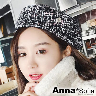 AnnaSofia M字圓釦霓彩織 毛呢畫家帽貝蕾帽(黑彩系)