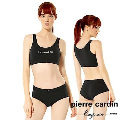 Pierre Cardin皮爾卡登 棉質無鋼圈零束縛運動內衣(成套-BLK黑)