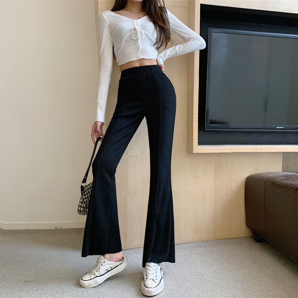 La Belleza素面鬆緊腰中間壓條彈性棉質側口袋神腿寬褲喇叭褲