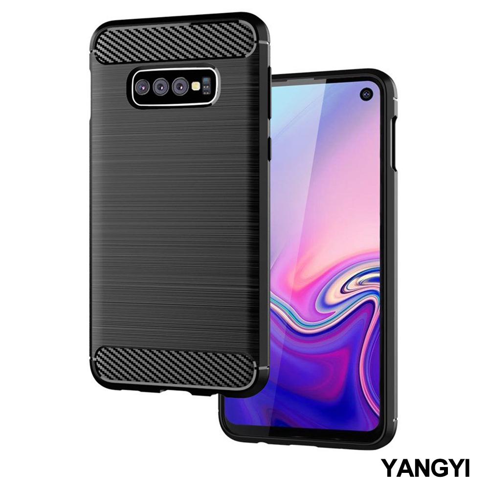 揚邑 SAMSUNG Galaxy S10 碳纖維拉絲紋軟殼散熱防震抗摔手機殼-黑