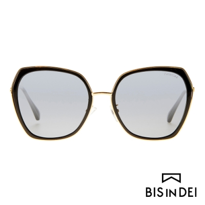BIS IN DEI 金屬多角形側邊加厚框太陽眼鏡-黑