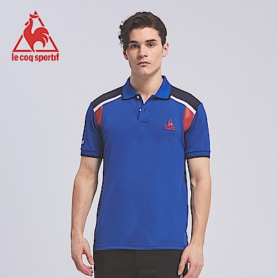 le coq sportif 法國公雞牌印花袖攏設計吸濕排汗短袖POLO衫男-寶藍