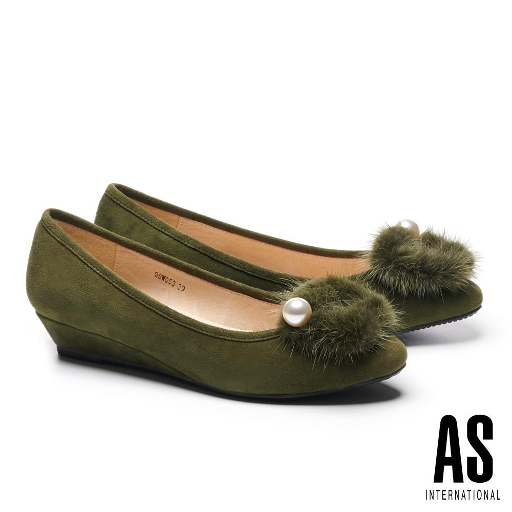 低跟鞋 AS 高尚奢華珍珠水貂毛方釦全真皮楔型低跟鞋-綠