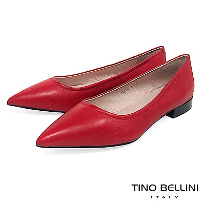 Tino Bellini 俐落簡約質感全真皮尖楦微跟包鞋 _ 紅