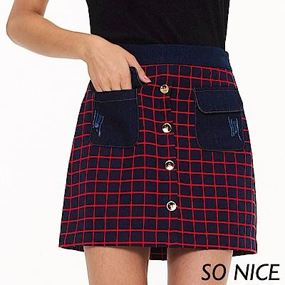 SO NICE俏麗口袋拼接格紋短裙
