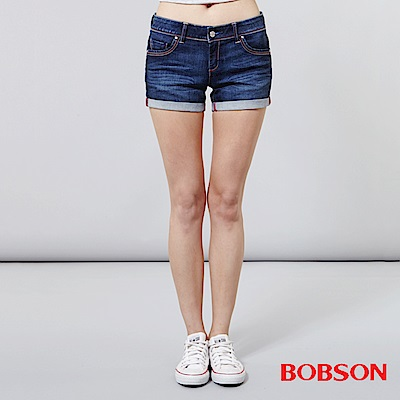 BOBSON 女款超低腰紅線牛仔短褲