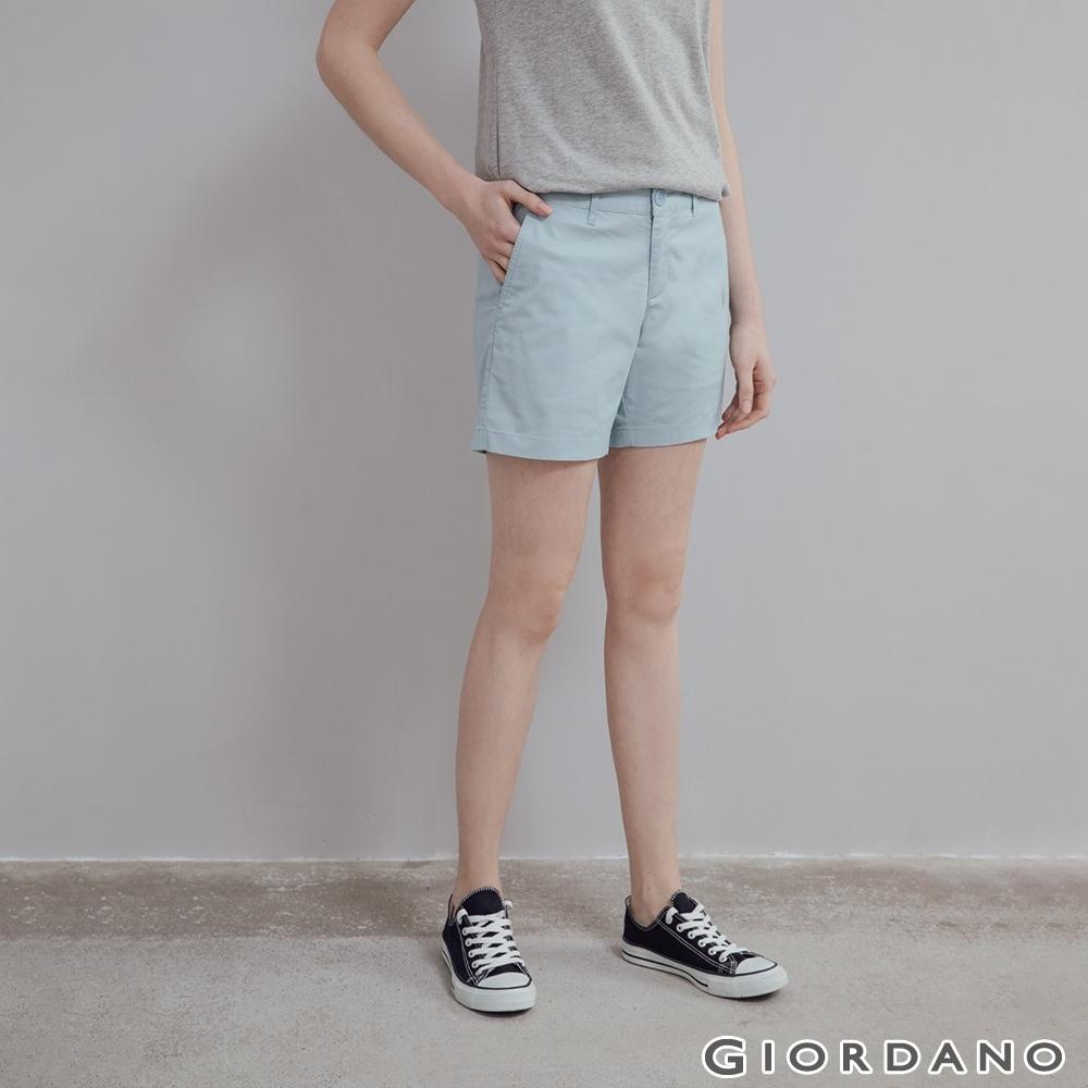 GIORDANO 女裝素色休閒卡其短褲 - 61 淺藍