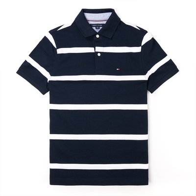 TOMMY 經典刺繡Logo短袖Polo衫-深藍白條紋色