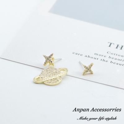 【ANPAN愛扮】韓東大門迷幻銀河不對稱星球前後扣兩用925銀耳針式耳環