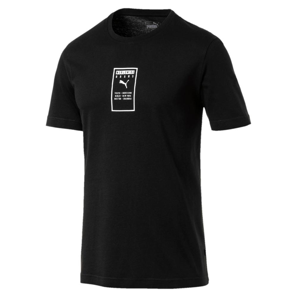 PUMA-男性基本系列Brand短袖T恤-黑色-亞規
