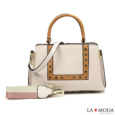 La Moda 時尚超HOT元素鉚釘裝飾2WAY肩背手提托特包(米白)