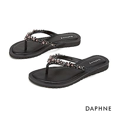 達芙妮DAPHNE 涼鞋-閃鑽珍珠平底拖鞋-黑色