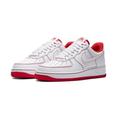 NIKE 休閒鞋 運動 經典款 AF1 皮革 男鞋 白紅CV1724-100 Air Force 1 07