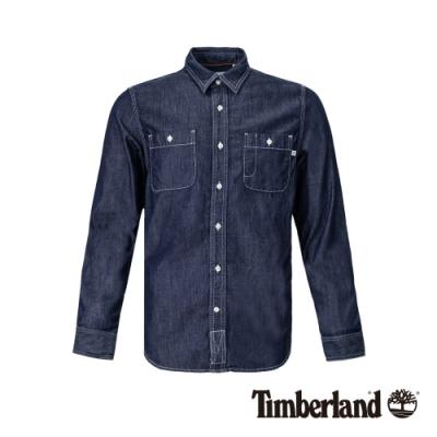 Timberland 男款水洗色工業風牛仔長袖襯衫|A1ZZH