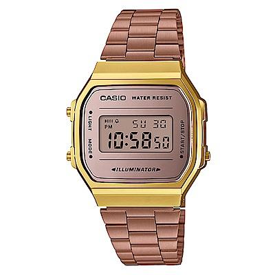 CASIO經典時尚復古造型設計數位錶(A-168WECM-5)玫瑰金/36.3mm