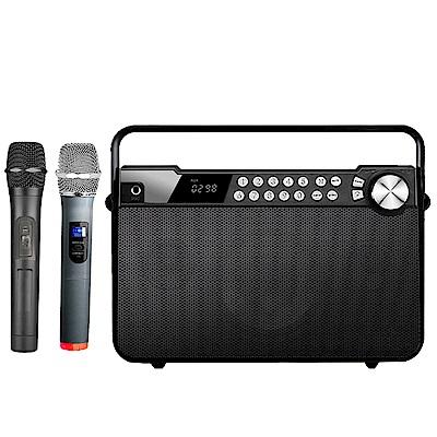 大聲公樂聲型無線式多功能手提行動音箱/喇叭(雙手持麥克風組)