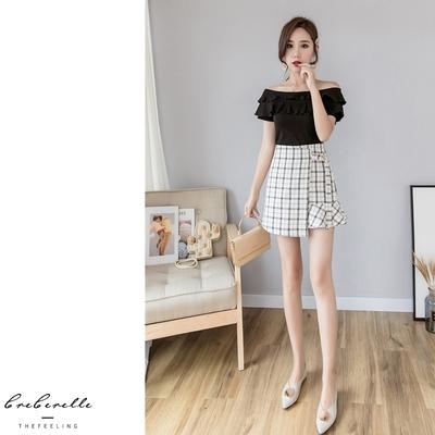 UGIZ-(限時)格紋修身魚尾短裙-2色(S-XL)