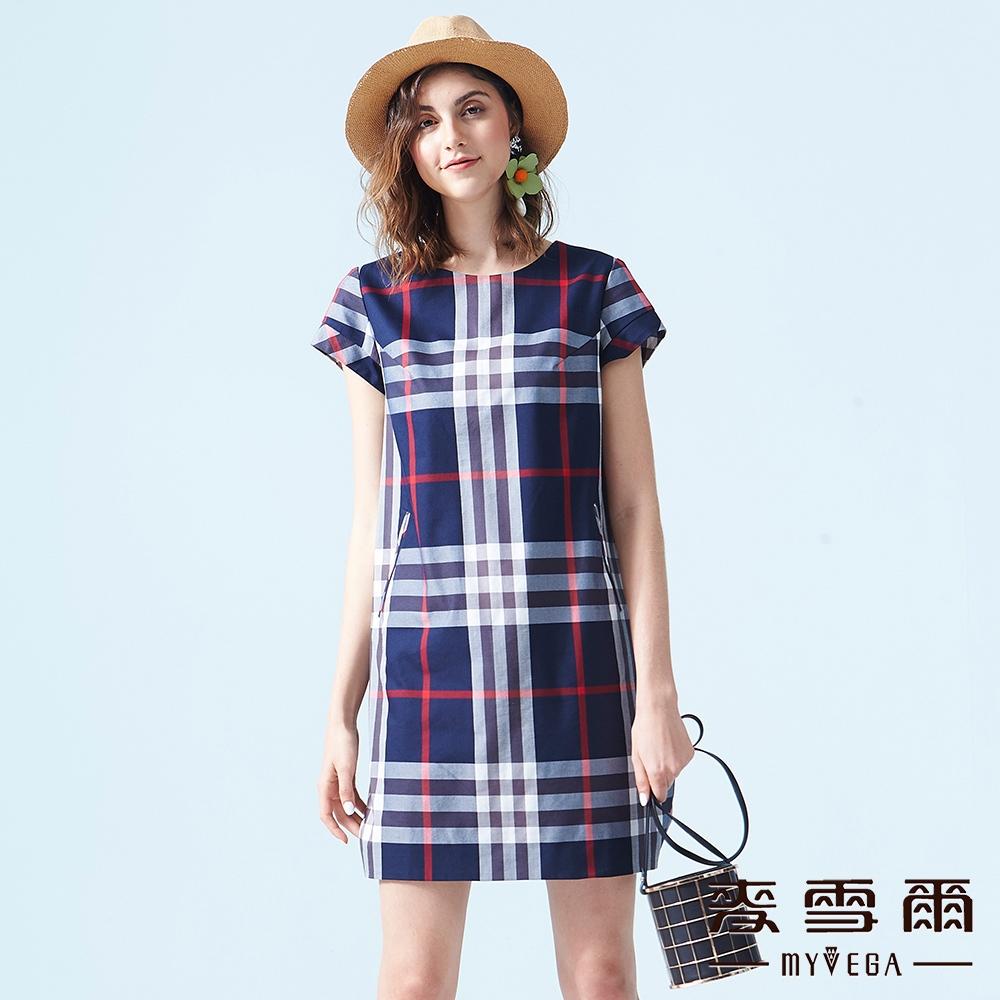 【麥雪爾】棉質經典格紋短洋裝