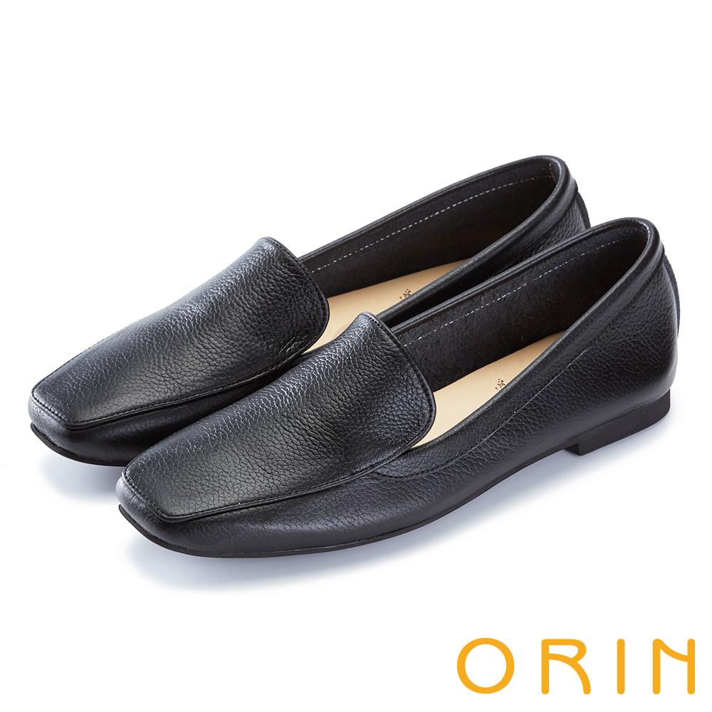 ORIN 復古樂活主義 嚴選牛皮素面方頭樂福鞋-黑色