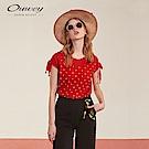 OUWEY歐薇 珠珠燙飾寬版連袖上衣(紅)