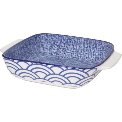 《NOW》圖騰方形深瓷烤盤(浪花藍20.3cm)