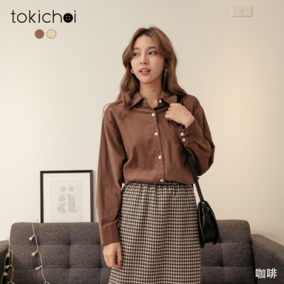 東京著衣 休閒街頭單口袋磨毛排釦長版襯衫