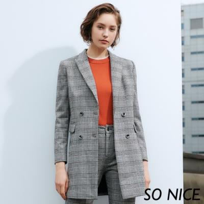 SO NICE時尚威爾士格紋西裝外套