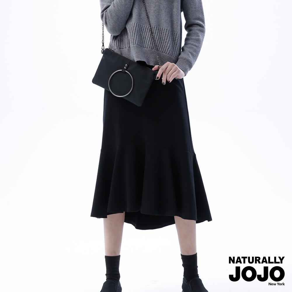【NATURALLY JOJO】細柔毛魚尾長裙(黑)
