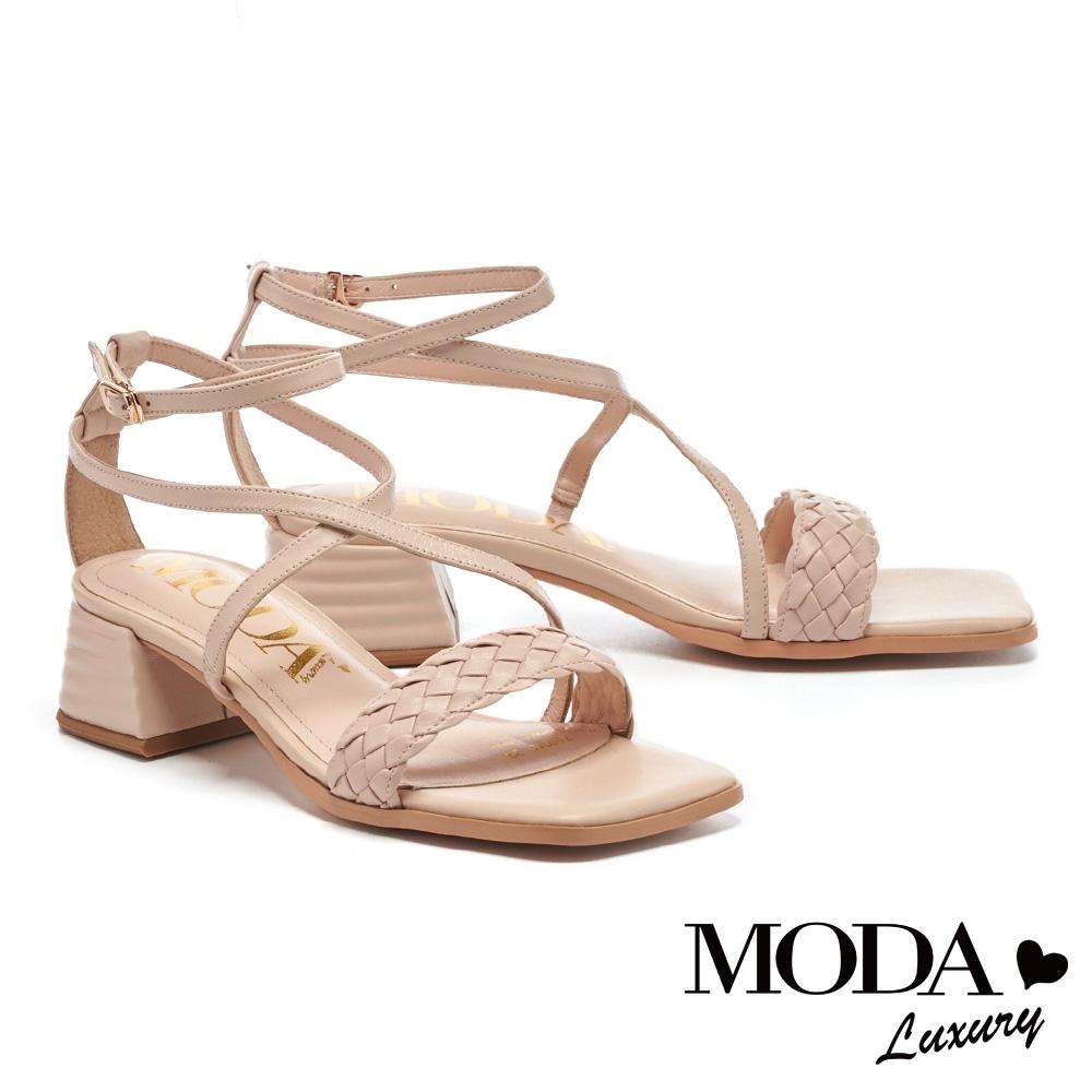 涼鞋 MODA Luxury 迷人氣質一字編織交叉繫帶方頭粗跟涼鞋-粉