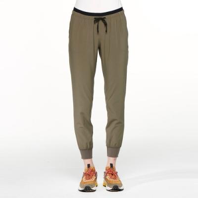 【HAKERS 哈克士】女 彈性快乾抗UV束口九分褲(橄綠)