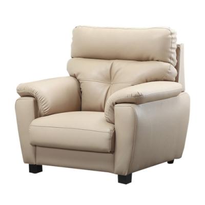 文創集 莎曼珊 現代舒柔透氣皮革單人座沙發-104x93x104cm免組