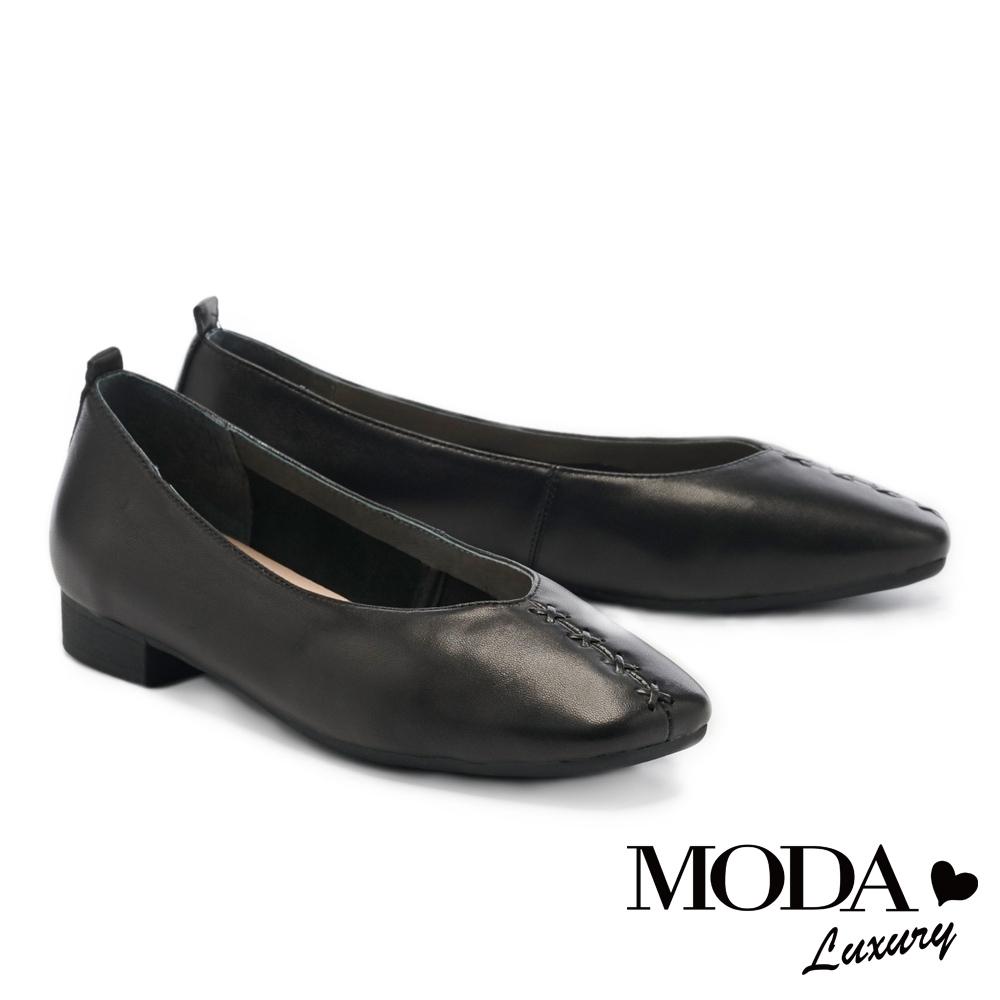 低跟鞋 MODA Luxury  舒適優雅全真皮獨特編織造型方頭低跟鞋-黑