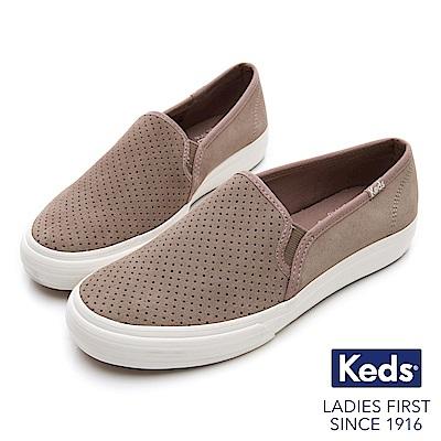 Keds 麂皮沖孔休閒便鞋-褐色