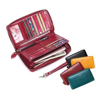 玩皮工坊-真皮二層油蠟牛皮16卡位女士皮夾皮包錢夾錢包長夾女夾【LH347】