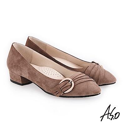 A.S.O 義式簡約 實穿百搭都會真皮跟鞋 沙