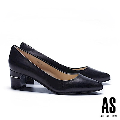 高跟鞋 AS 經典純色素雅羊皮尖頭高跟鞋-黑