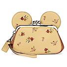 COACH MINNIE米妮耳朵造型蝴蝶結吊飾花花皮革珠扣大手拿包-黃