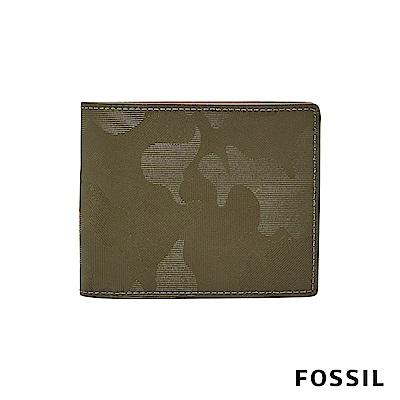 FOSSIL JASPER 壓紋證件零錢袋兩折短夾-綠色