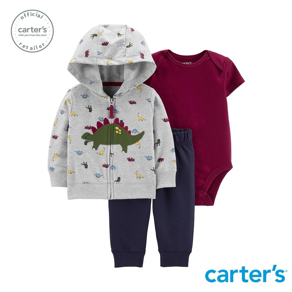 Carter's台灣總代理 小恐龍連帽外套3件組套裝
