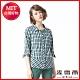 麥雪爾 格紋七分袖蝴蝶結裝飾襯衫 product thumbnail 1