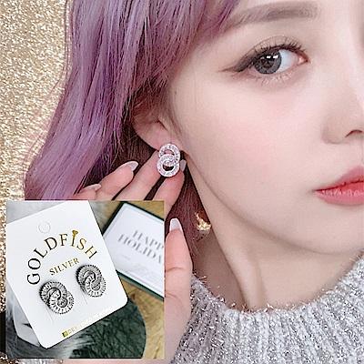 梨花HaNA 韓國925銀針晶鑽光芒雙環鑽飾耳環