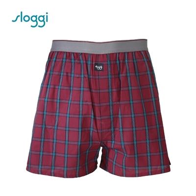 sloggi men Vacation系列寬鬆平口褲 暗紅色 RG918718R5