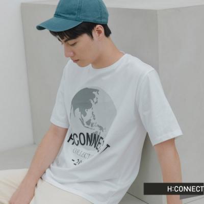 H:CONNECT 韓國品牌 男裝 -品牌文字圖印T-Shirt-白